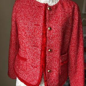 Talbots Red Tweed Blazer with Fringe Detail Sz 6